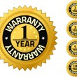 Warranty 1 year Quality Guarantee Badges — Stock Photo #9631914