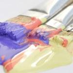 Paintbrushes and acrylic paint — Stock Photo #9549092