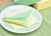 Paper napkins on the plate — Stock Photo