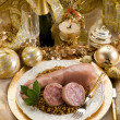 Pig trotter with lentils over golden christmas table — Foto Stock