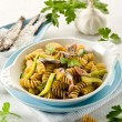 Stock Photo: Fusilli with anchovies and zucchinis