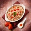 Royalty-Free Stock Photo: Risotto with strawberries and cream sauce
