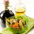 Steamed vegetables salad with balsamic vinegar — Stock Photo