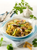 Fusilli with anchovies and zucchinis — Stock Photo