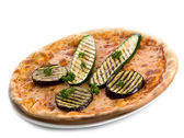 Pizza with grilled zucchinis and eggplants — Stock Photo