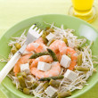 Healthy salad with soy sprout shrimp tofu and asparagus — Stock Photo