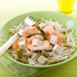Healthy salad with soy sprout shrimp tofu and asparagus — Stock Photo #9448639