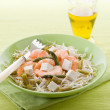 Healthy salad with soy sprout shrimp tofu and asparagus — Stock Photo #9448673