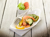 Appetizer with shrimp over slice grapefruit, mango avocado and — Stock Photo