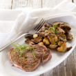 Grilled tenderloin with cep mushroom - Stock Photo