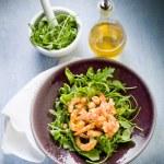Shrimp salad with arugula olive oil and balsamic vinegar — Stock Photo #9453441
