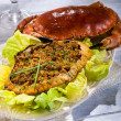 Stuffed crab with green salad - Stock Photo