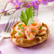 Appetizer canape with shrimp — Stock Photo