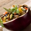 Ratatouille over open eggplant — Stockfoto