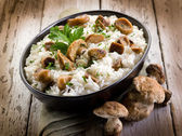 Risotto with cep edible mushrooms — Stock Photo