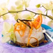 Dessert ricotta with orange and vanilla - Stock Photo