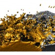 Liquid gold and silver splashing - Stock Photo