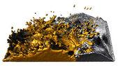 Sıvı altın ve gümüş sıçramasına — Stok fotoğraf