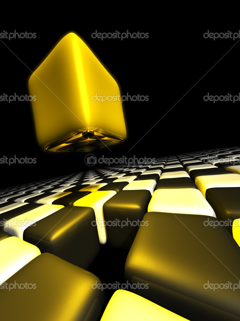 Gold cube alone above many anonymous cubes with a black background — Stock Photo #9112102