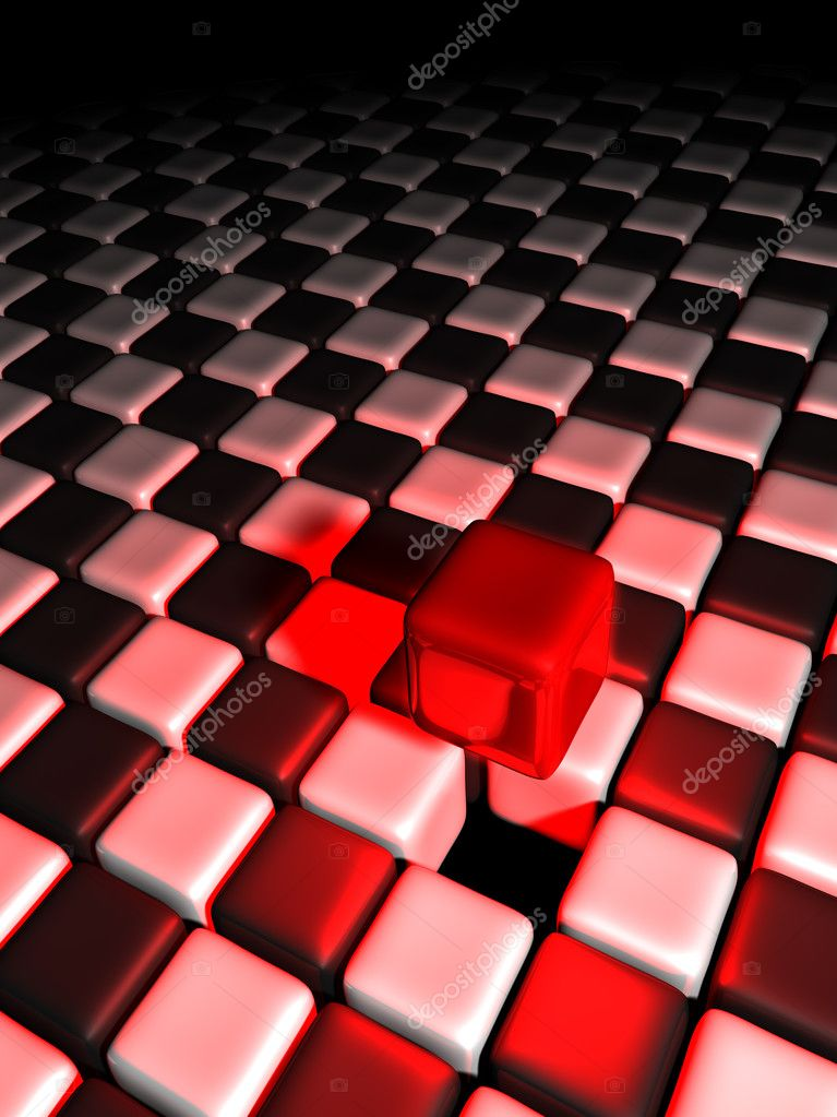 Red cube alone above many black and white cubes with a dark background — Stock Photo #9112235