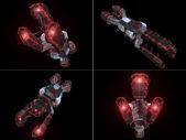 Vier vorderen ansichten von schwarzen und roten raumschiff — Stockfoto