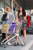 Alışveriş sepeti ile genç kadınlar — Stok fotoğraf