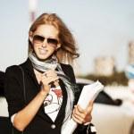 Happy businesswoman on the city street — Stock Photo #10708320