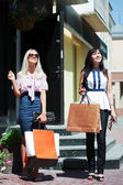Två unga kvinnor shopping — Stockfoto