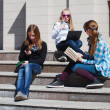Stock Photo: Teenage schoolgirls on steps