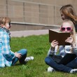 Stock Photo: Teenage schoolgirls relaxing on campus