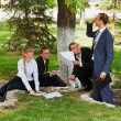 Young business in a city park — Stock Photo #9157089
