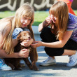 Teenage girls with a puppy — Stok fotoğraf