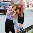 Stock Photo: Teenage girls on a city street