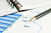 Stock market graphs and charts — Stock Photo