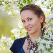 Beautiful woman in a spring garden — Stock Photo