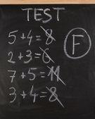 F grade on math test — Stock Photo