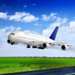 Stock Photo: Modern airplane in Airport. Take off on runway.