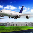 Modern airplane  in  Airport. Take off on runway. - Foto Stock