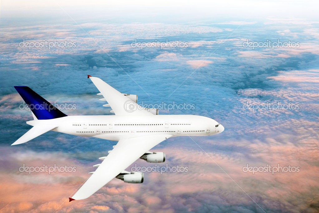 Modern airplane  over the clouds. — Stock Photo #10075882