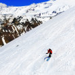 A skier descending Mount Elbrus - the highest peak in Europe. — Stock Photo #10500570