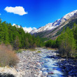 View of the mountains and river into the valley. Elbrus area — Stock Photo #10540989