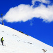 A skier descending Mount Elbrus - the highest peak in Europe. — Stock Photo #10656096