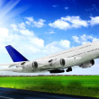 Modern airplane in Airport. Take off on runway. — Stock Photo #9800813