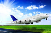 Modern airplane in Airport. Take off on runway. — Stock Photo