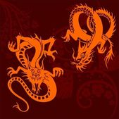 Chinese Dragons Set — Stock Vector
