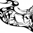 Bull in tribal style - vector image. — Vettoriali Stock