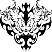 Bull in tribal style - vector image. — Vector de stock