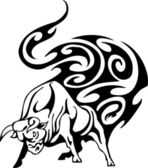 Tjuren i tribal stil - vektorbild. — Stockvektor