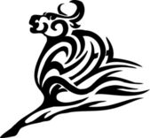 Bull in tribal style - vector image. — Stock Vector