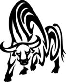 Bull in tribal style - vector image. — Stock Vector